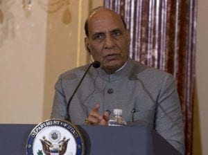 Indian Defense Minister Shri Rajnath Singh, speaks during a news conference after a bilateral meeting between the U.S. and India at the Department of State in Washington, Wednesday, Dec.18, 2019
